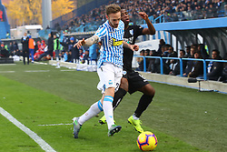 "Foto Filippo Rubin<br /> 01/12/2018 Ferrara (Italia)<br /> Sport Calcio<br /> Spal - Empoli - Campionato di calcio Serie A 2018/2019 - Stadio ""Paolo Mazza""<br /> Nella foto: HAMED JUNIOR TRAORE (EMPOLI) VS MANUEL LAZZARI (SPAL)<br /> <br /> Photo Filippo Rubin<br /> December 01, 2018 Ferrara (Italy)<br /> Sport Soccer<br /> Spal vs Empoli - Italian Football Championship League A 2018/2019 - ""Paolo Mazza"" Stadium <br /> In the pic: HAMED JUNIOR TRAORE (EMPOLI) VS MANUEL LAZZARI (SPAL)"