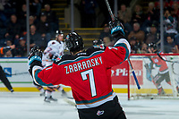 KELOWNA, CANADA - OCTOBER 13:  Libor Zabransky #7 of the Kelowna Rockets puts his hands in the air to celebrate a second period goal against the Calgary Hitmen on October 13, 2017 at Prospera Place in Kelowna, British Columbia, Canada.  (Photo by Marissa Baecker/Shoot the Breeze)  *** Local Caption ***