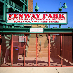 Boston Fenway Park sign Gate D entrance photo. Fenway Park is a baseball stadium in the Eastern United States and is home to the Boston Red Sox.