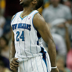 April 24, 2011; New Orleans, LA, USA; New Orleans Hornets power forward Carl Landry (24) reacts after a dunk against the Los Angeles Lakers during the second quarter in game four of the first round of the 2011 NBA playoffs at the New Orleans Arena.    Mandatory Credit: Derick E. Hingle