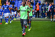 AFC Wimbledon forward Michael Folvi (17) comes onto the pitch during the EFL Sky Bet League 1 match between Ipswich Town and AFC Wimbledon at Portman Road, Ipswich, England on 20 August 2019.