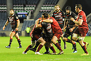 Jamie Ritchie rides a high tackle during the Guinness Pro 14 2017_18 match between Edinburgh Rugby and Munster Rugby at Myreside Stadium, Edinburgh, Scotland on 16 March 2018. Picture by Kevin Murray.