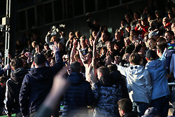Stephen McLaughlin (centre) of Southend United celebrates survival with the fans - Mandatory by-line: Arron Gent/JMP - 04/05/2019 - FOOTBALL - Roots Hall - Southend-on-Sea, England - Southend United v Sunderland - Sky Bet League One