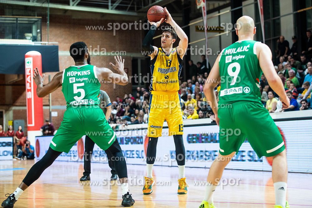 Aleksander Lazic  of KK Koper Primorska during basketball match between KK Koper Primorska and KK Cedevita Olimpija in final of Spar Cup 2019/20, on February 16, 2020 in Sport hall Kodeljevo, Ljubljana, Slovenia. Photo By Grega Valancic / Sportida