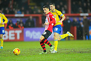 Exeter City's Tom Nichols and Accrington Stanley's Seamus Conneely during the Sky Bet League 2 match between Exeter City and Accrington Stanley at St James' Park, Exeter, England on 23 January 2016. Photo by Graham Hunt.