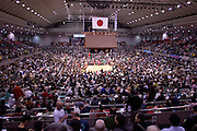 A view of the crowd in the Osaka Spring Grand Sumo Tournament in the Osaka Prefectural Gymnasium.