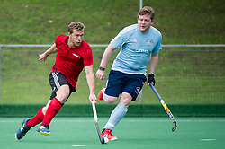 Southgate's Tyler Sundeen on the ball. Southgate v Old Georgians - Men's Hockey League, East Conference, Trent Park, London, UK on 23September 2017. Photo: Simon Parker