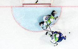 Antoine Roussel of France vs Matic Podlipnik of Slovenia and Matija Pintaric of Slovenia during the 2017 IIHF Men's World Championship group B Ice hockey match between National Teams of France and Slovenia, on May 15, 2017 in AccorHotels Arena in Paris, France. Photo by Vid Ponikvar / Sportida