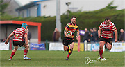 Carmarthen Quins' scrum half Gareth Rees makes a clean break in midfield.<br /> <br /> Photographer: Dan Minto<br /> <br /> Indigo Welsh Premiership Rugby - Round 12 - Llandovery RFC v Carmarthen Quins RFC - Saturday 28th December 2019 - Church Bank, Llandovery, South Wales, UK.<br /> <br /> World Copyright © Dan Minto Photography<br /> <br /> mail@danmintophotography.com <br /> www.danmintophotography.com