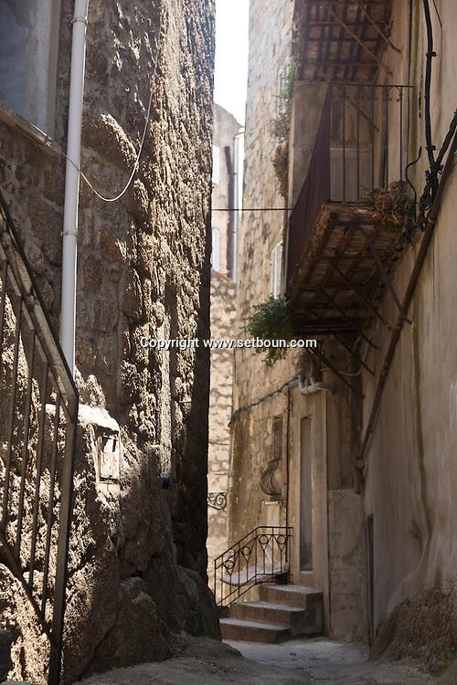 Corsica. France. Sartene,the old perched village on a montain , old city, the old middle age village  Corsica south - France / Sartene , village perché sur la montagne la vielle ville , les rues de la ville medievale Corse du sud France