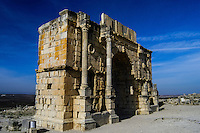 Volubilis is an archaeological roman site in Morocco situated near Moulay Idriss. Triumphal Arch.