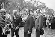 General Dwight D. Eisenhower and his wife arrive at the Gresham Hotel where they will stay in a special penthouse suite.  Also pictured are Mr. T. O'Sullivan, Managing Director of the hotel and Mr. Frank Aiken, Minister for External Affairs..21.08.1962