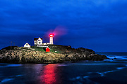 Nubble Lighthouse at night, Cape Neddick, York, Maine, USA.