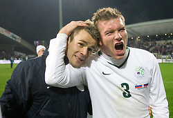 Elvedin Dzinic and Matej Mavric of Slovenia  celebrate at  FIFA World Cup Sout Africa 2010 Qualifying Second Play off match between Slovenia and Russia, on November 18, 2009, in Stadium Ljudski vrt, Maribor, Slovenia. Slovenia won 1:0 and qualified for the FIFA World Championships 2010. (Photo by Vid Ponikvar / Sportida)