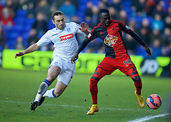 BIRKENHEAD, ENGLAND - Saturday, January 3, 2015: Tranmere Rovers' Danny Holmes in action against Swansea City's Mo Barrow during the FA Cup 3rd Round match at Prenton Park. (Pic by David Rawcliffe/Propaganda)