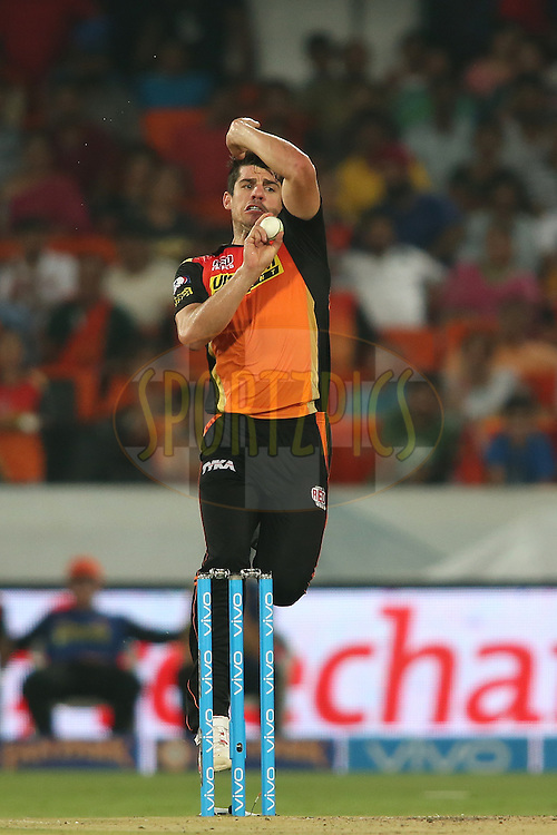 Moises Henriques of Sunrisers Hyderabad sends down a delivery during match 22 of the Vivo IPL 2016 (Indian Premier League) between the Sunrisers Hyderabad and the Rising Pune Supergiants held at the Rajiv Gandhi Intl. Cricket Stadium, Hyderabad on the 26th April 2016<br /> <br /> Photo by Shaun Roy / IPL/ SPORTZPICS