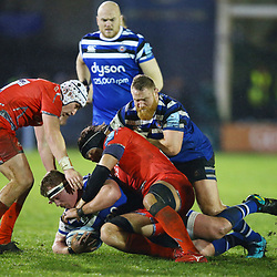 Jacques van Rooyen of Bath Rugby is tackled during the Gallagher Premiership match between Bath Rugby and Sale Sharks at the The Recreation Ground Bath England.2nd December 2018,(Photo by Steve Haag Sports)