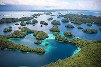 The amazing 70 islands in Palau can only be seen from a helicopter or plane.  The islands have been strictly protected for nearly 4 decades.  Brimming with sea life, they are one of the few remaining areas of the world left mostly untouched by man.