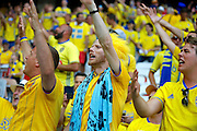 Swedish fans sing before the Euro 2016 match between Sweden and Belgium at Stade de Nice, Nice, France on 22 June 2016. Photo by Andy Walter.
