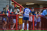 Victoria Williams (Brighton) signing autographs and talking with Brighton & Hove Albion FC supporters following the FA Women's Super League match between Brighton and Hove Albion Women and Chelsea at The People's Pension Stadium, Crawley, England on 15 September 2019.