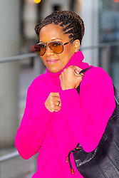 American actress and director Regina King leaves the Chris Evans Breakfast show at Virgin Radio in London. London, February 08 2019.