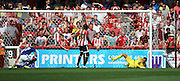 Kevin Bru scoring Ipswich first goal during the Sky Bet Championship match between Brentford and Ipswich Town at Griffin Park, London, England on 8 August 2015. Photo by Matthew Redman.