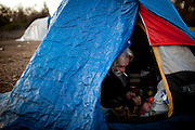 Tim Buckley wakes up at the SafeGround camp in Sacramento, Calif., January 14, 2011.
