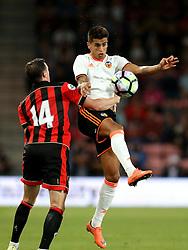 Joao Cancelo of Valencia jumps above Brad Smith of Bournemouth to head the ball - Mandatory by-line: Robbie Stephenson/JMP - 03/08/2016 - FOOTBALL - Vitality Stadium - Bournemouth, England - AFC Bournemouth v Valencia - Pre-season friendly