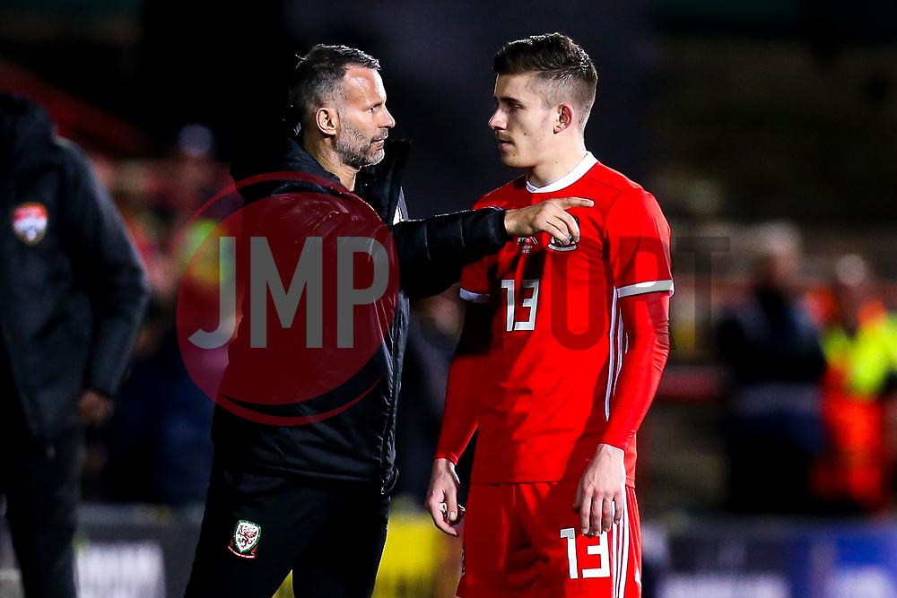 Wales head coach Ryan Giggs talks to Declan John of Wales - Mandatory by-line: Robbie Stephenson/JMP - 20/03/2019 - FOOTBALL - The Racecourse Ground - Wrexham, United Kingdom - Wales v Trinidad and Tobago - International Challenge Match