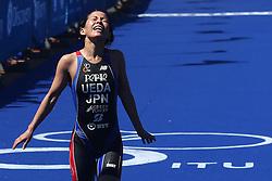 Ai Ueda of Japan finishes in third place during the Elite Women race of the Discovery Triathlon World Cup Cape Town leg held at Green Point in Cape Town, South Africa on the 11th February 2017.<br /> <br /> Photo by Shaun Roy/RealTime Images
