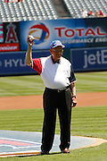 ANAHEIM, CA - AUGUST 12:  Bob Friend, a member of the Keeping The Spirit of 45 Alive movement, throws out the celebratory first pitch before the Los Angeles Angels of Anaheim game against the Seattle Mariners on Sunday, August 12, 2012 at Angel Stadium in Anaheim, California. The Mariners won the game 4-1. (Photo by Paul Spinelli/MLB Photos via Getty Images) *** Local Caption *** Bob Friend
