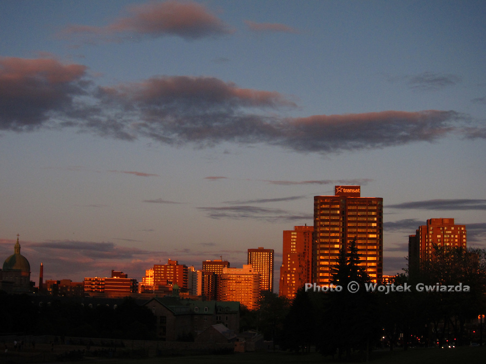 Montreal skyline at sunset.