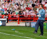 Photo: Paul Greenwood.<br />Sheffield United v West Ham United. The Barclays Premiership. 14/04/2007.<br />West Ham manager Alan Curbishley uses both feet and hands to get his point across