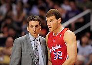 Apr. 1, 2011; Phoenix, AZ, USA; Los Angeles Clippers forward Blake Griffin (32) talks with head coach Vinny Del Negro while playing against the Phoenix Suns at the US Airways Center. The Suns defeated the Clippers 111-98. Mandatory Credit: Jennifer Stewart-US PRESSWIRE