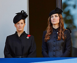 The Countess of Wessex with the Duchess of Cambridge  during the annual Remembrance Sunday Service at the Cenotaph, Whitehall, London, United Kingdom. Sunday, 10th November 2013. Picture by i-Images