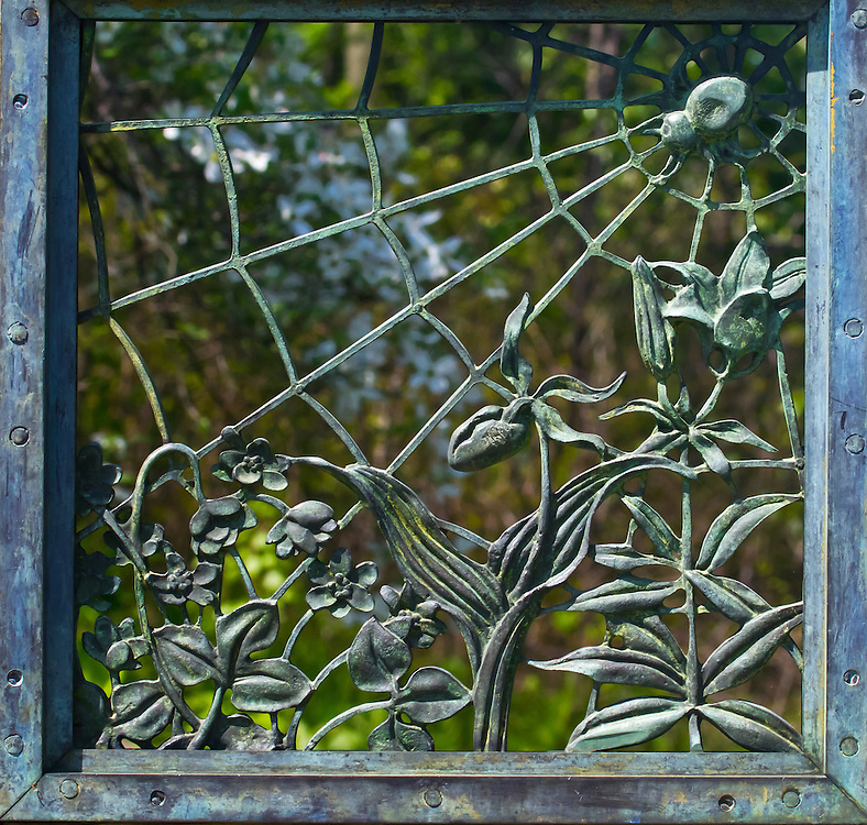 Iron work on the gate to the Local Fauna Garden.