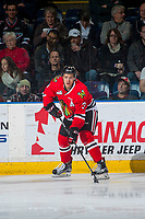 KELOWNA, CANADA - JANUARY 21: Caleb Jones #3 of the Portland Winterhawks skates with the puck and looks for the pass against the Kelowna Rockets on January 21, 2017 at Prospera Place in Kelowna, British Columbia, Canada.  (Photo by Marissa Baecker/Getty Images)  *** Local Caption *** Caleb Jones;