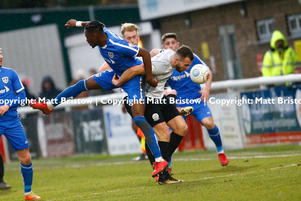 Guiseleys midfielder Simon Lenighan and Dover's midfielder Mitch Brundle clash while challenging for the ball during the Vanorama National League match between Dover Athletic and Guiseley at Crabble Stadium, London, England on 27 January 2018. Photo by Matt Bristow.