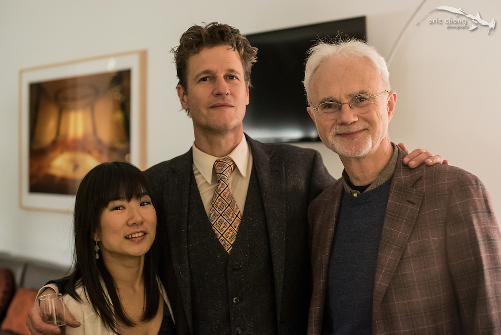 St. Lawrence String Quartet performs the world premiere of John Adams' Second Quartet at Bing Concert Hall on Stanford Campus. Backstage at Bing, January 18, 2015. Livia Sohn, 1st violinist Geoff Nuttall, composer John Adams