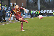 Bradford City Defender, Anthony McMahon unleashes a cross during the The FA Cup third round match between Bury and Bradford City at Gigg Lane, Bury, England on 9 January 2016. Photo by Mark Pollitt.