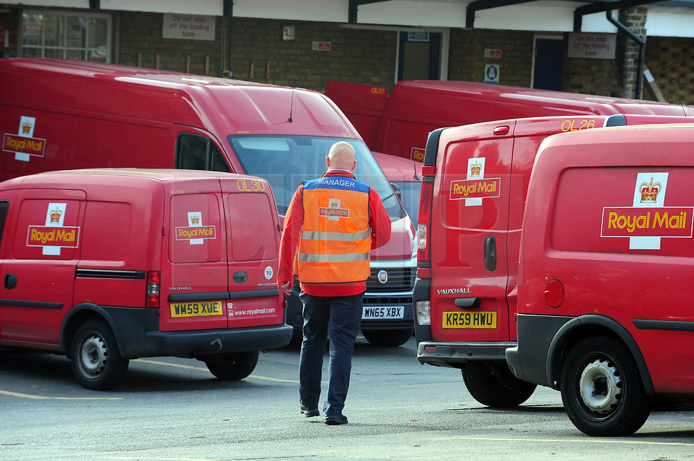 &copy; Licensed to London News Pictures.04/10/2017.<br /> Orpington, UK.<br /> Royal Mail Orpington delivery office South East London.<br /> Royal Mail staff vote to strike over dispute about pay and pensions, the strike may affect Christmas post.<br /> Photo credit: Grant Falvey/LNP