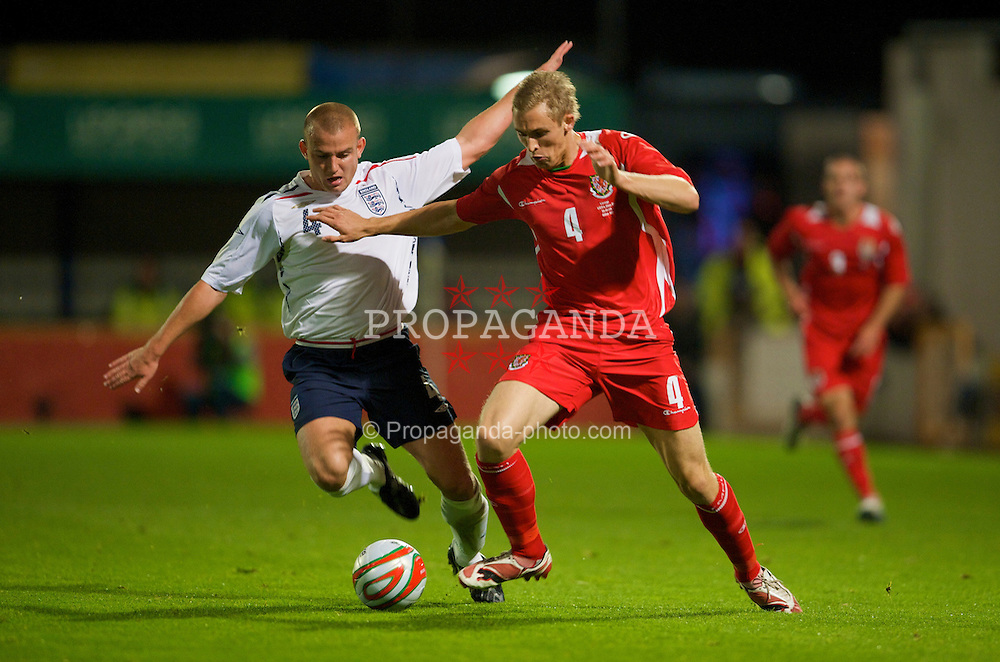 CARDIFF, WALES - Friday, October 10, 2008: Wales' Jack Collison and England's Lee Cattermole during the UEFA European Under-21 Championship Play-Off 1st Leg match at Ninian Park. (Photo by David Rawcliffe/Propaganda)