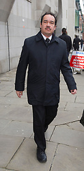 © London News Pictures. 06/02/2014. London, UK. PC Keith Wallis arriving at The Old Bailey where he has been sentenced to 12 months in prison for misconduct in public office over the plebgate affair. PC Wallis is accused of wrongfully claiming that he had seen an incident in Downing Street involving other police officers and former chief whip Andrew Mitchell.  Photo credit : Ben Cawthra/LNP