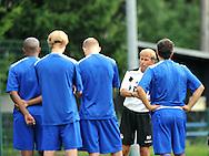 06-08-2008 Voetbal:Maikel Aerts:Bad-Schandau:Duitsland<br /> Willem II is in Oost Duitsland in Bad-Schandau voor een trainingskamp.<br /> De selectie van Willem II luistert naar trainer Andries Jonker<br /> <br /> foto: Geert van Erven