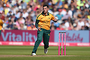 Steve Mullaney of Notts Outlaws bowling during the Vitality T20 Finals Day 2019 match between Notts Outlaws and Worcestershire Rapids at Edgbaston, Birmingham, United Kingdom on 21 September 2019.