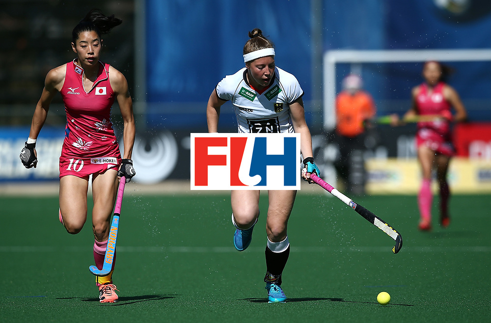 JOHANNESBURG, SOUTH AFRICA - JULY 16:  Teresa Martin Pelegrina of Germany controls the ball from Hazuki Yuda of Japan during day 5 of the FIH Hockey World League Women's Semi Finals Pool A match between Japan and Germany at Wits University on July 16, 2017 in Johannesburg, South Africa.  (Photo by Jan Kruger/Getty Images for FIH)