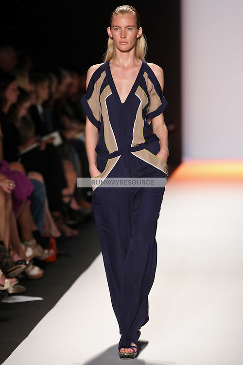 Emily Baker walks the runway wearing BCBG Max Azria collection during Mercedes-Benz Fasion Week in New York on September 8, 2011