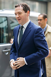 © Licensed to London News Pictures. 15/03/2015. LONDON, UK. Chancellor of the Exchequer, George Osborne arrives BBC Broadcasting House in London to take part on the The Andrew Marr show on Sunday, 15 March 2015. Photo credit : Tolga Akmen/LNP