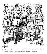 """Staff Officer (inspecting a scratch collection of G.S. men). """"Ah, my man - ribbon, eh? Don't seem to remember the colours. What campaign is that?"""" G.S. Man (proudly). """"First prize, ploughin' match at Yeovil, Zur."""""""