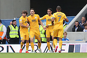 Preston North End striker Jordan Hugill (25) scores a goal 1-0 and celebrates  during the EFL Sky Bet Championship match between Brighton and Hove Albion and Preston North End at the American Express Community Stadium, Brighton and Hove, England on 15 October 2016.